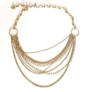 Multi-Chain Brass/Antique Gold Necklace